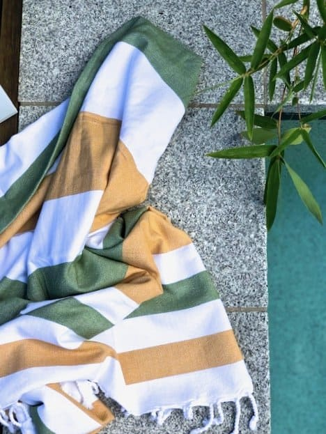 Summer Bright organic cotton Pestemal in Olive and Tan colours
