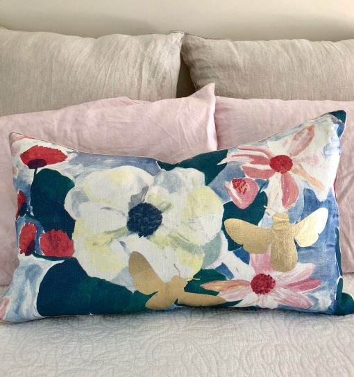 Bonnie & Neil screen print Magnolia cushion 75 cm x 45 cm
