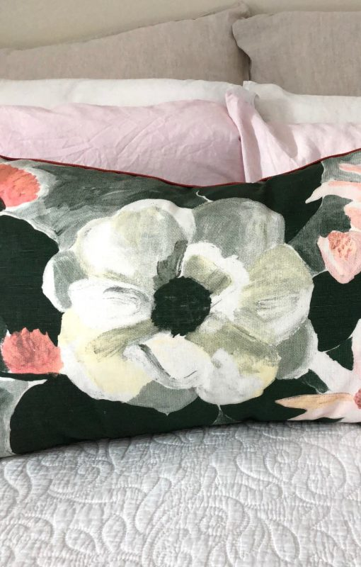 Bonnie and Neil magnolia linen cushion