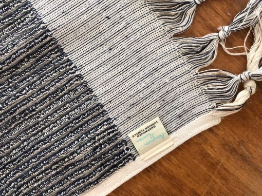 Navy Latte striped hand towel made from Gots certified organic cotton