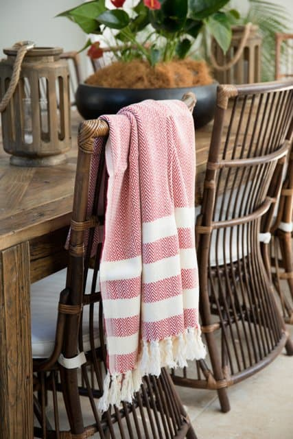 Sovereign Pestemal Towel in red is made from certified organic cotton