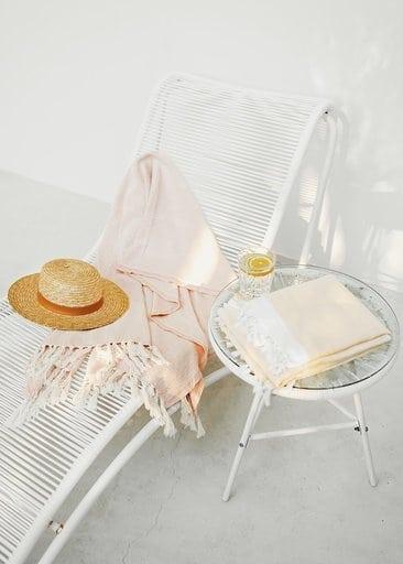 Bath or beach towel in organic cotton pestemal made from gots organic cotton