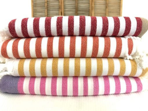 Sea Spray turkish towels with colourful stripes